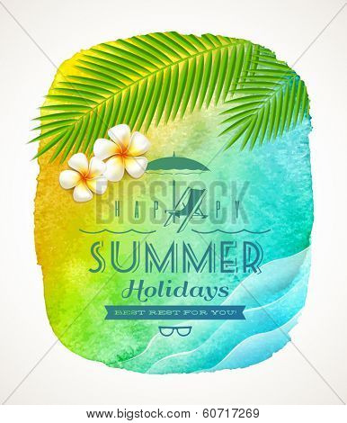 Summer holiday greeting - watercolor background banner with sea waves, palm tree branches and frangipani flowers on shore - vector illustration
