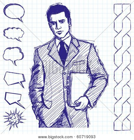 Vector sketch, comics style man businessman in suit with laptop in his hands, looking on camera