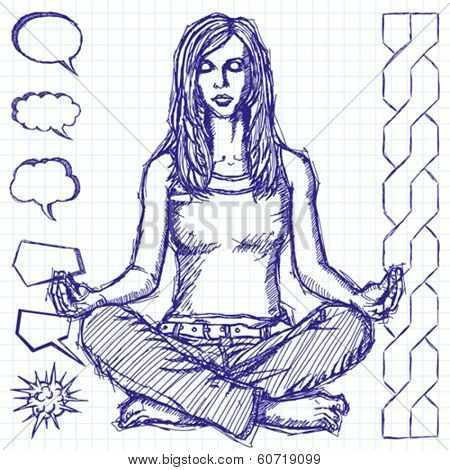 Vector sketch, comics style woman meditation in lotus pose