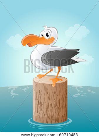 funny cartoon seagull
