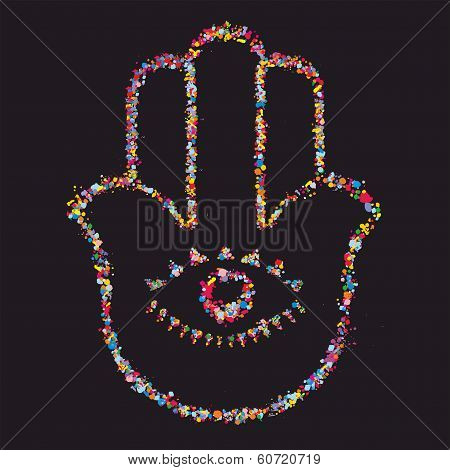 Grunge Stylized Colorful Hamsa On Black Background -  Vector Illustration