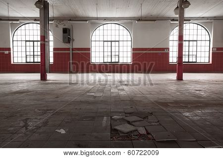 An Old Empty Industrial Warehouse Interior