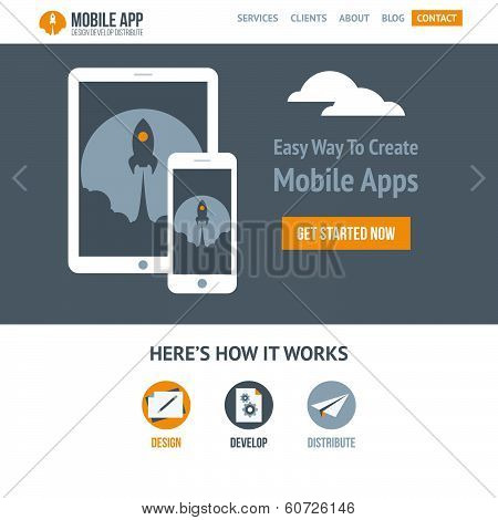 Trendy Flat Vector Website Template For Company Creating Mobile Applications And Responsive Websites