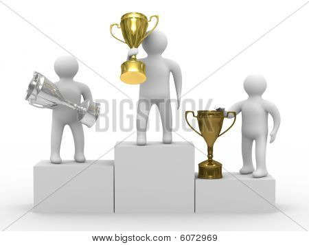 Winners With Cups On White Background. Isolated 3D Image