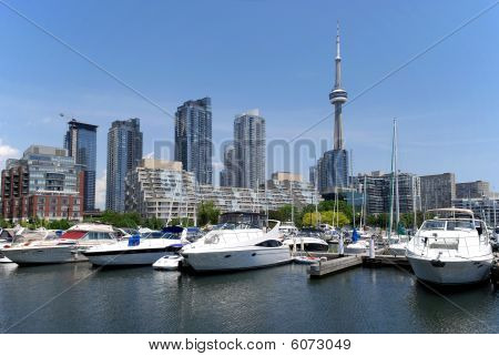 Toronto skyline with lake Ontario