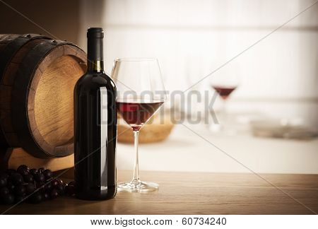 Wine Glass And Bottle Still Life