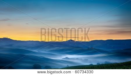 Tuscany landscape at dawn, Pienza, Val d'Orcia, Italy