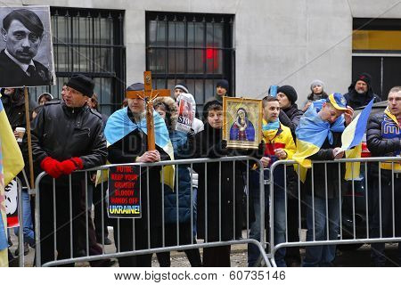 Orthodox iconography with Putin Hitler poster