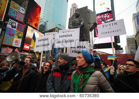 Signs & rally in Times Square
