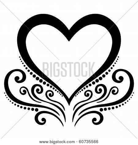 Vector Deco Floral Heart. Design element