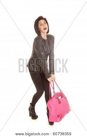 Older Woman Pink Heavy Bag