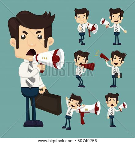 Set Of Businessman Announcing Through Megaphone
