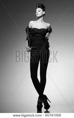 Beautiful Punk Woman Model Posing In Leather Jacket