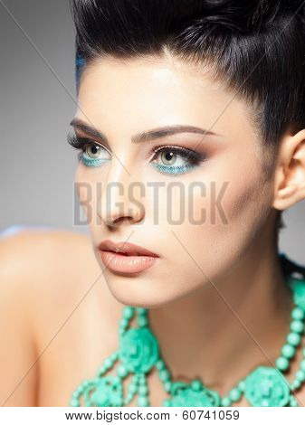 Professional Make-up And Hairstyle On Beautiful Woman