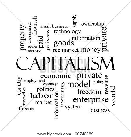 Capitalism Word Cloud Concept In Black And White