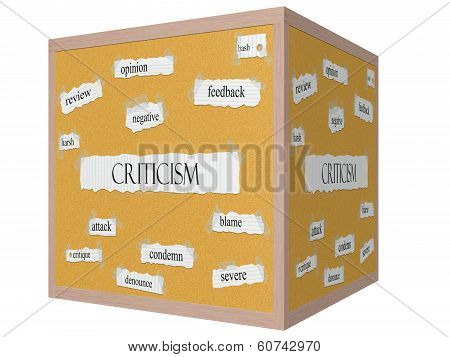 Criticism 3D Cube Corkboard Word Concept