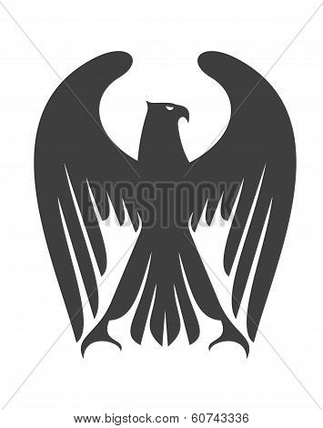 Majestic eagle or falcon with long wing feathers