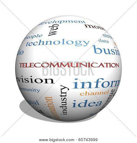 Telecommunication 3D Sphere Word Cloud Concept