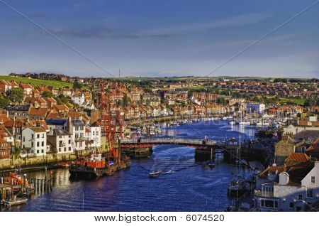 Whitby Harbor And Abbey