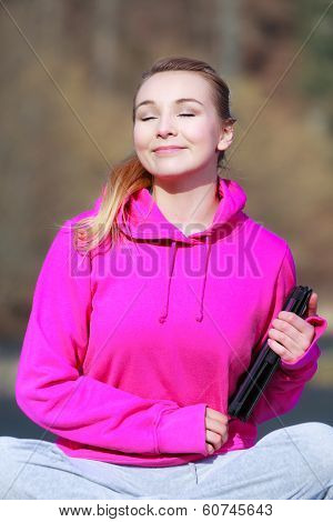 Woman Teenage Girl In Pink With Tablet Getting Some Sun Outdoor