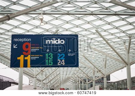 Pavilions Sign At Mido 2014 In Milan, Italy