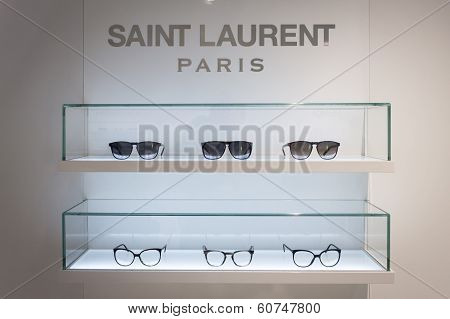 Saint Laurent Glasses On Display At Mido 2014 In Milan, Italy