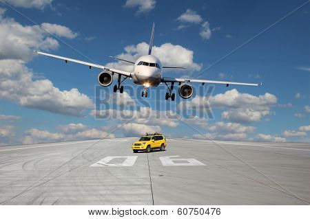 Treshold Of Runway With Car And Plane