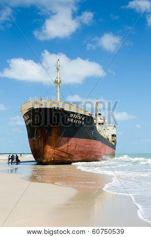 Ships Orapin 4 Hit By Waves Crashing Ashore.