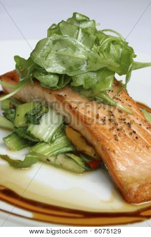 Pan seared fillet of salmon.