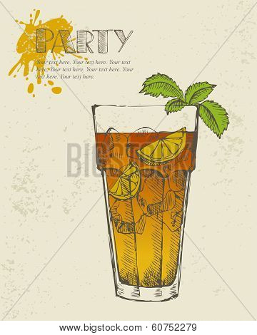 Hand drawn illustration of Long island tea cocktail.