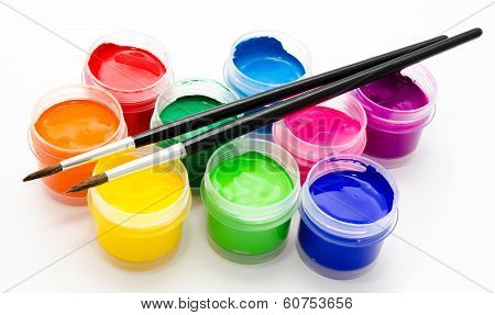 Gouache Paint Brush Isolated On A White