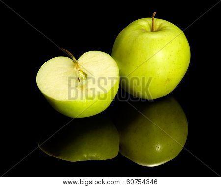 Apple On Reflective Ground
