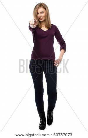 Young Woman Pointing Forwards Towards The Camera