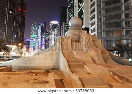 Pearl Fountain In Doha Downtown