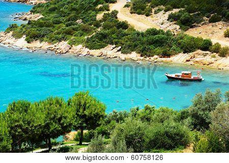 Turquoise Water Near Beach On Turkish Resort, Bodrum, Turkey