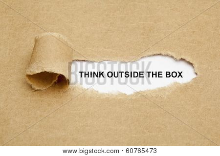 Think Outside The Box Torn Paper