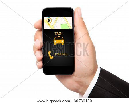 Man Hand Holding The Phone With Interface Taxi