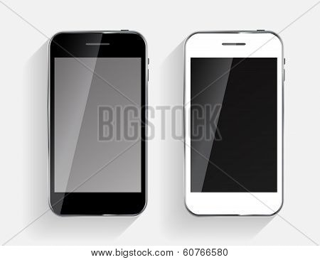 Abstract Design Black and White Mobile Phones Vector Illustrati