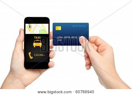 Female Hands Holding Phone With Interface Taxi And Credit Card On Isolated Background