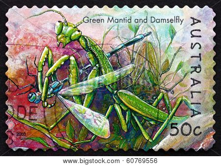 Postage Stamp Australia 2003 Green Mantis And Damselfly