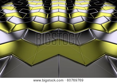 Metal With Gold Arrow Blocks Flooring Perspective View