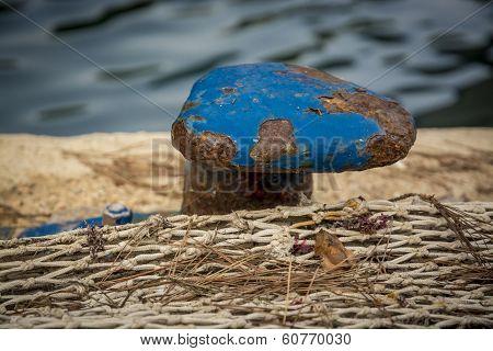 Blue Mooring Knob Close-up