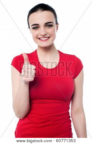 Attractive Girl Showing Thumbs Up