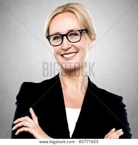 Closeup Portrait Of A Middle Aged Businesswoman