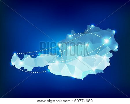 Austria Country Map Polygonal With Spot Lights Places