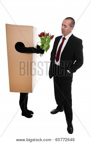 Concept: Package Delivery To Convey Flowers To A Businessman