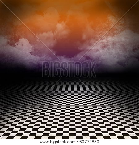 Empty, dark, psychedelic scenery with black and white checker floor and colorful clouds