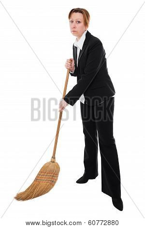 Business Woman With Broom