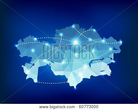 Kazakhstan Country Map Polygonal With Spot Lights Places