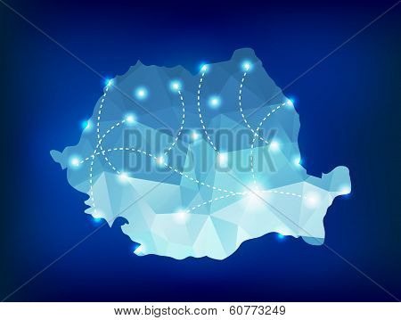 Romania Country Map Polygonal With Spot Lights Places